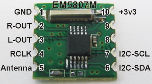 Модуль RF004. Радио модуль EM5807M. Стерео приёмник вещательного УКВ FM диапазона 50...115 МГц