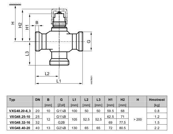 Размеры клапана Siemens VXG48.20