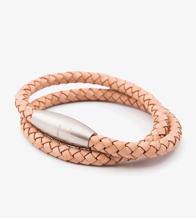 мужской браслет из натуральной кожи и стали oт шведского бренда Atlas Design - Double Stephen Natural