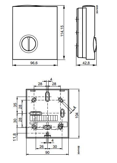 Размеры Siemens RCU10