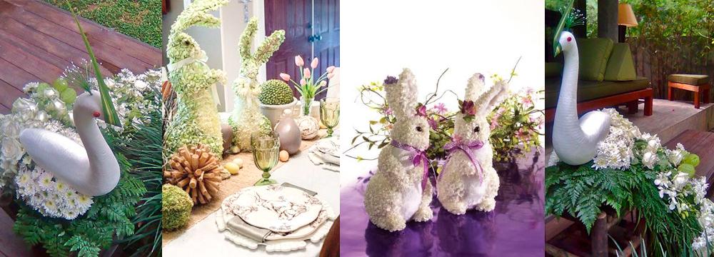 Животные из пенопласта и цветов