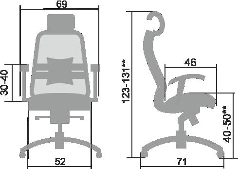 Размеры кресла Samurai SL 3.03