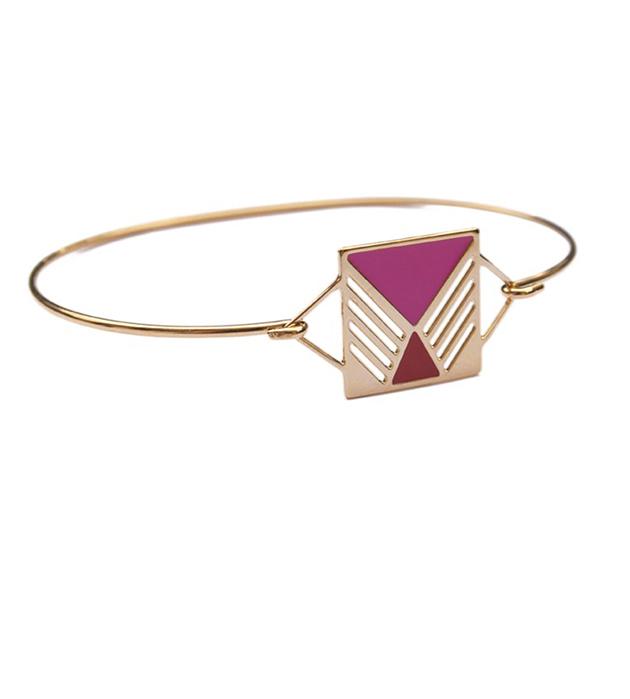 резной браслет с разноцветной эмалью Rufus rouge&rose от Chic Alors-Paris