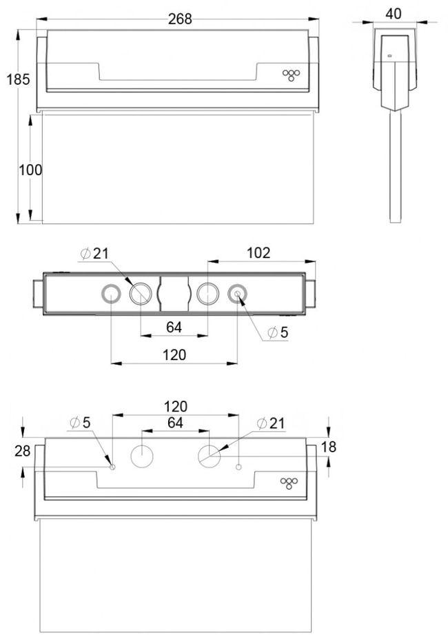 Монтажные размеры для светового указателя эвакуационного выхода ESC-80