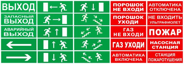 Надписи на пожарное табло МИНИ-12 / МИНИ-24 с подсветкой вниз
