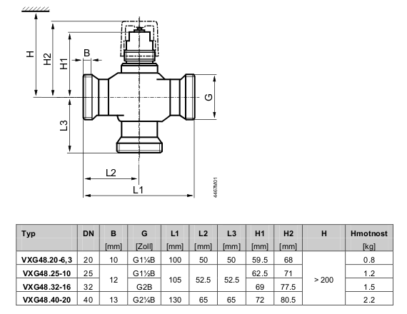 Размеры клапана Siemens VXI48.32-16