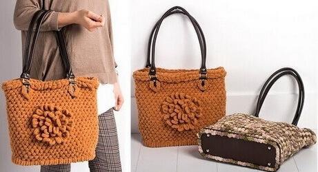 Женские сумки из пряжи Пуффи Ализе