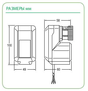 Размеры привода Schneider Electric MZ18A 24V (MOD)