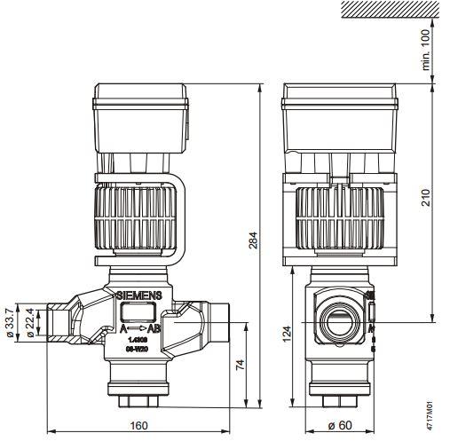 Размеры магнитного клапана Siemens MVS661.25-016N