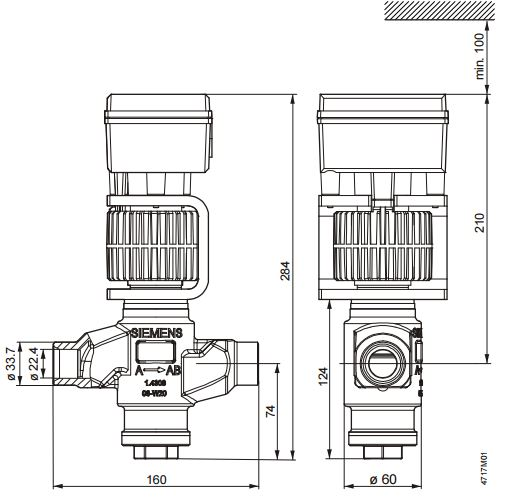 Размеры магнитного клапана Siemens MVS661.25-0.4N