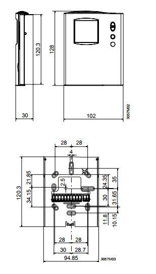 Размеры Siemens RDF110.2
