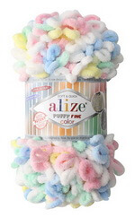 Пряжа Alize Puffy fine color для вязания руками на пальцах без спиц