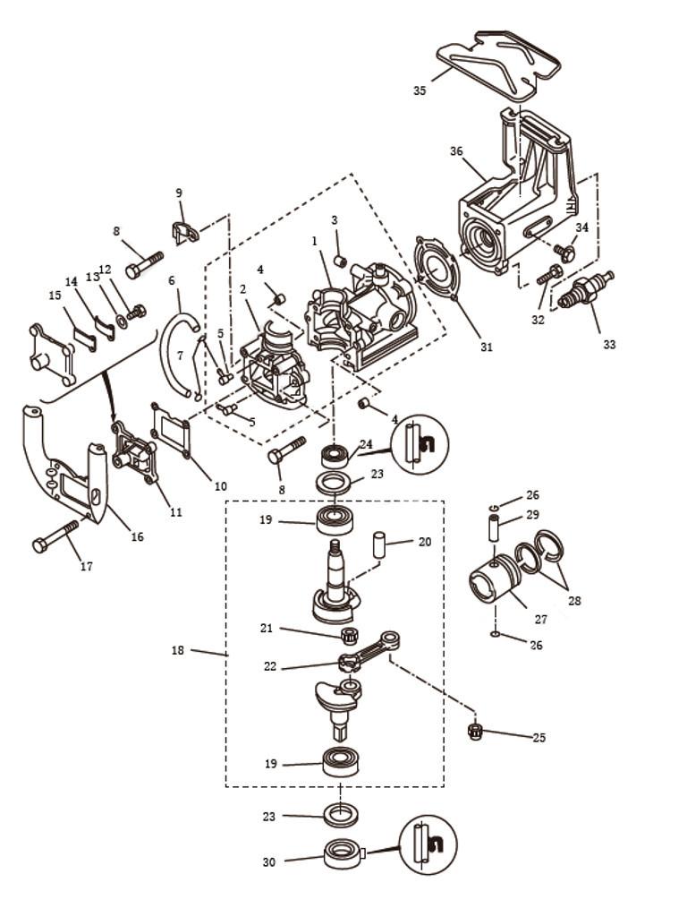Блок цилиндра для лодочного мотора SEA-PRO T2.5