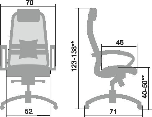 Размеры кресла Samurai K 1.03