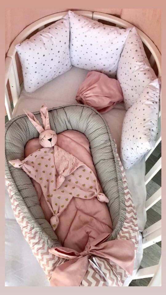 Комплект бортиков в детскую кроватку и гнездышко-кокон