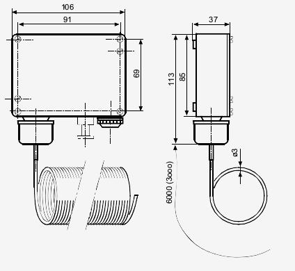 Размеры привода Siemens QAF81.3