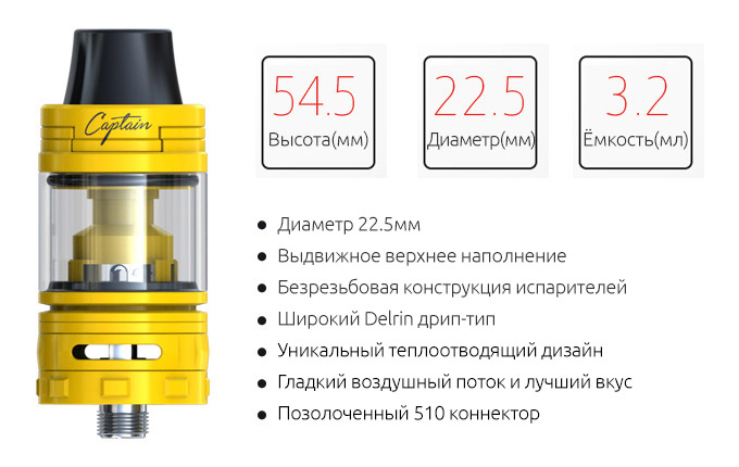 Спецификация Атомайзера iJOY Captain Mini