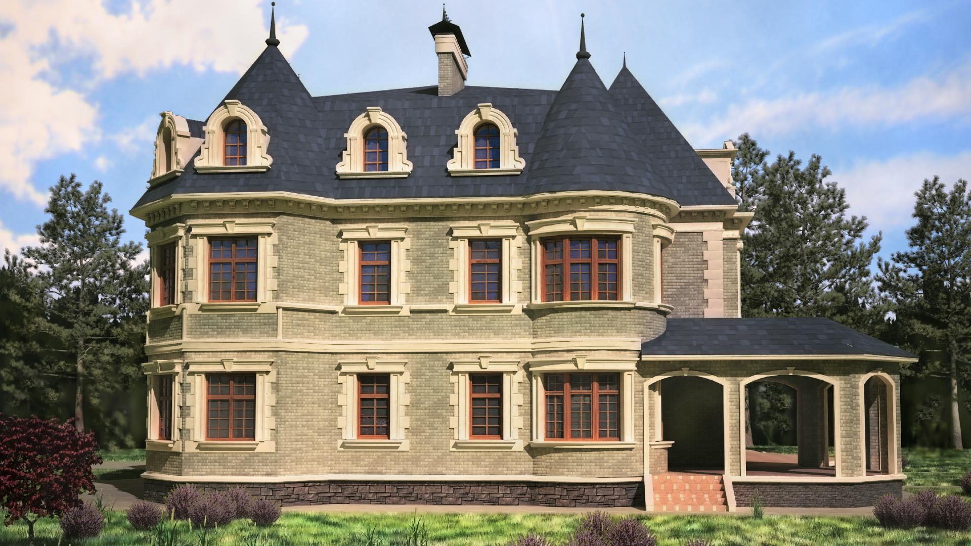 Коттедж в стиле французского замка, с окнами оформленными рустовыми камнями.