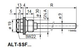 Размеры защитной гильзы Siemens ALT-SSF100
