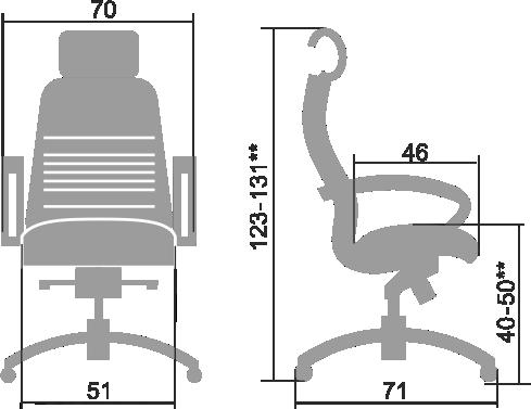 Размеры кресла Samurai KL-2.03