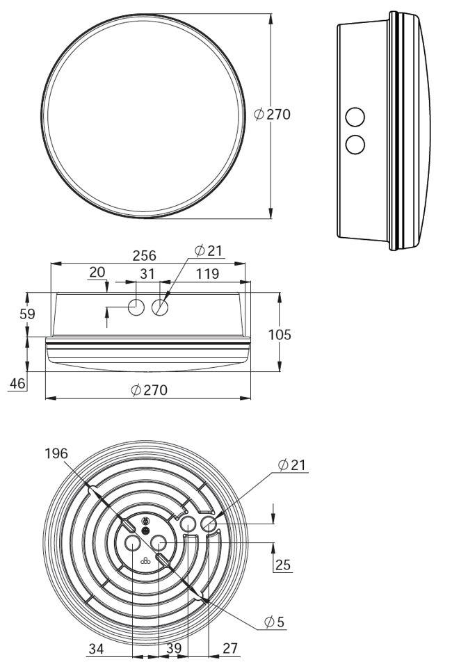 Монтажные размеры для люминесцентного светильника аварийного освещения IP44 SAFE 22
