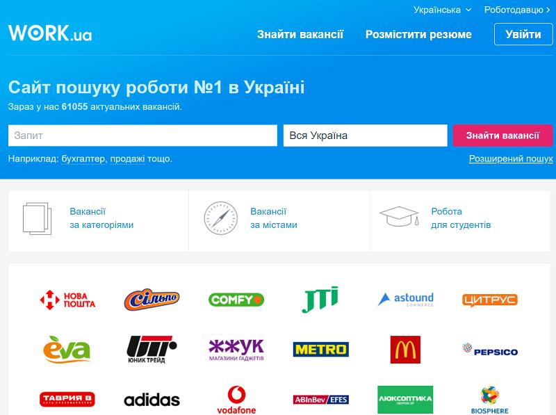 Главная страница сайта Work.ua