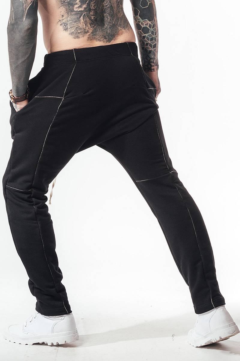 Штаны трико джоггеры мужские с декоративными швами SB БМ-5021 черного цвета