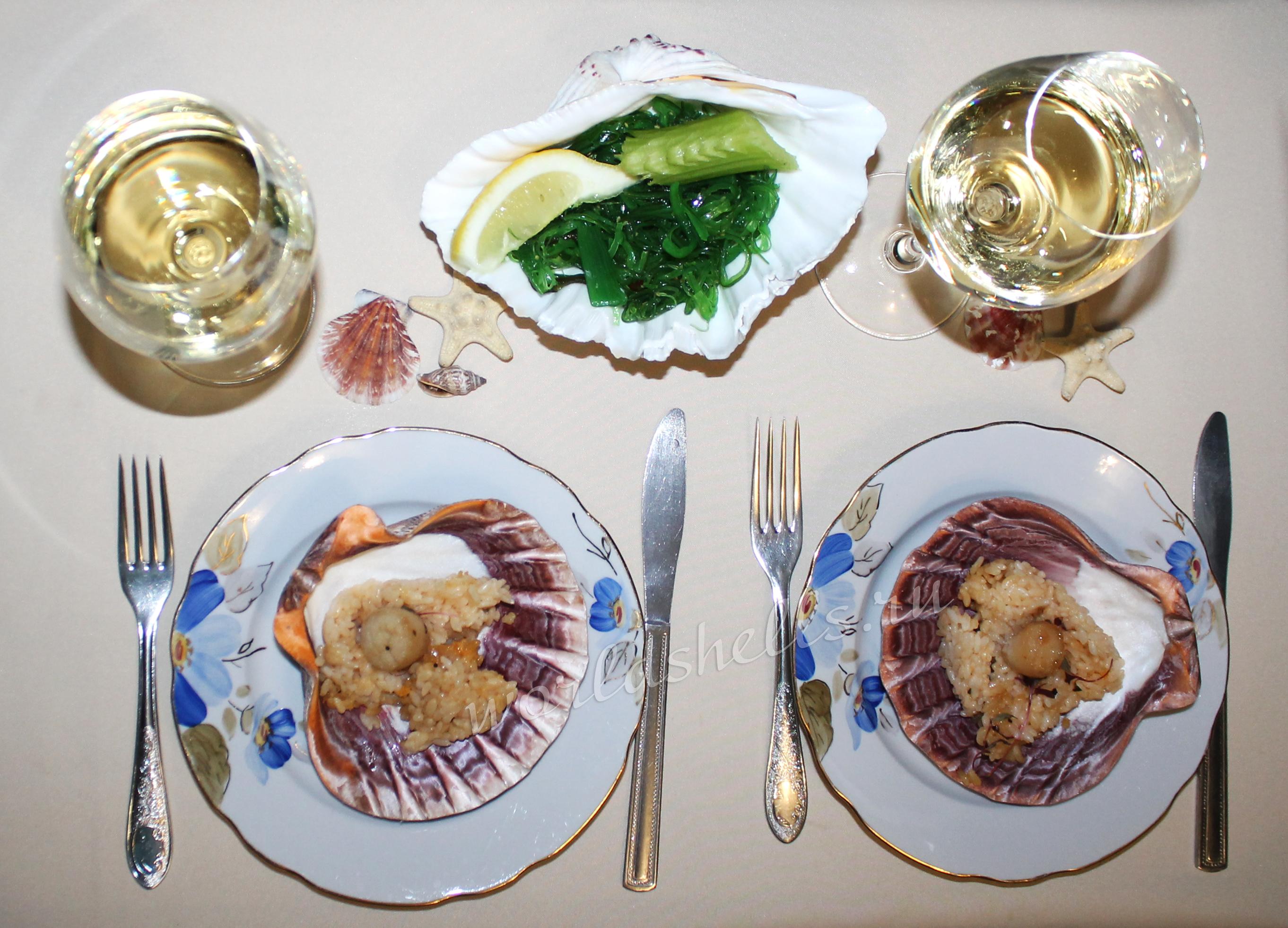 Тарелки из ракушек для морского ресторана