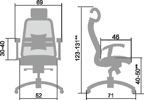 Размеры кресла Samurai 3.03