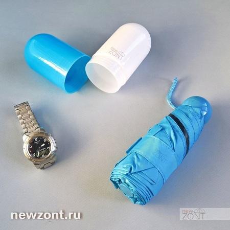 голубой карманный мини-зонтик в капсуле