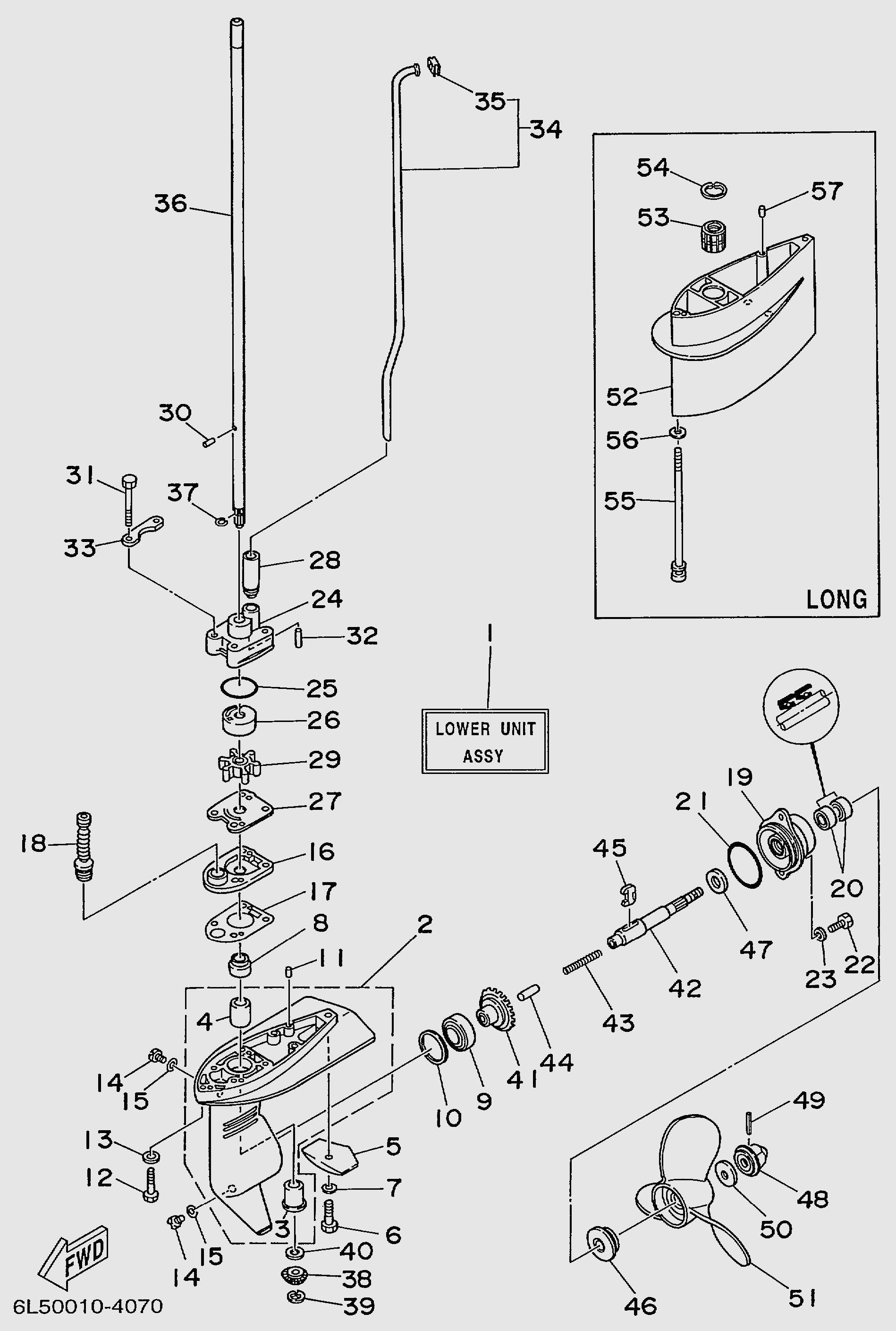 Запчасти редуктора лодочного мотора T3S SEA-PRO