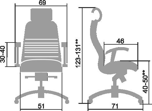 Размеры кресла Samurai KL-3.03