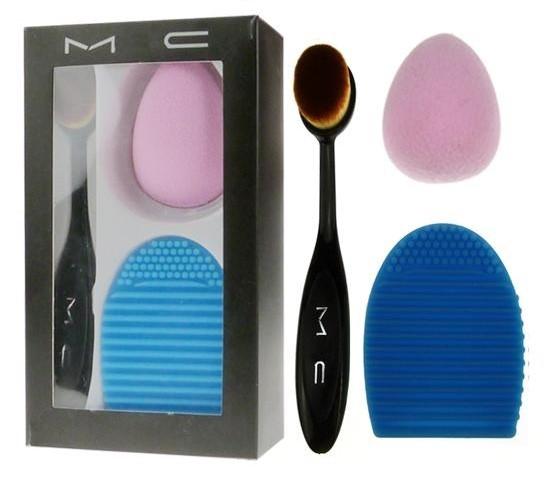Набор кистей для макияжа MAC 3 в 1 (гибкая кисть, спонж, Brushegg)
