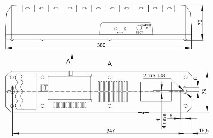 Технический чертеж на светильник ДБА 3928