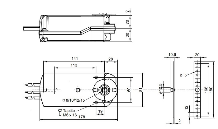 Размеры привода Siemens GNA126.1E/C10
