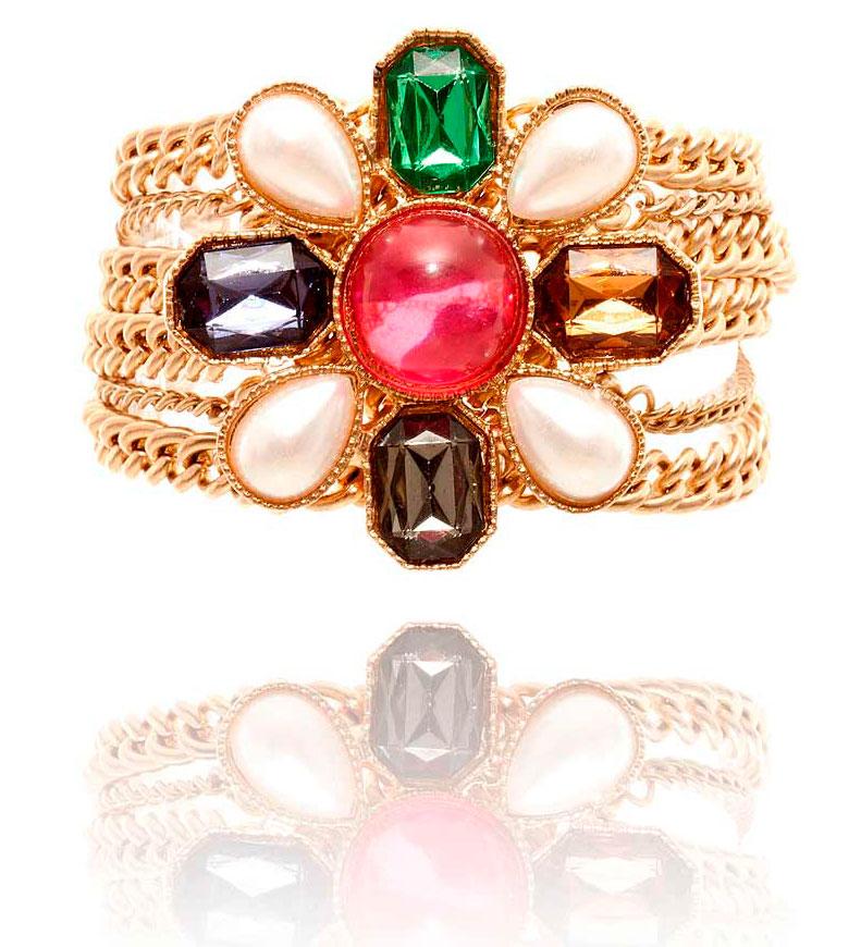 купить Золотой женский браслет-цепь в винтажном стиле фото
