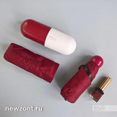 бордовый женский зонт легкий и компактный