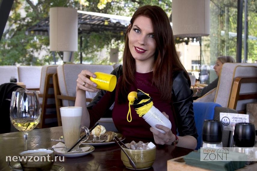 желтый легкий женский зонт в чехле-капсуле