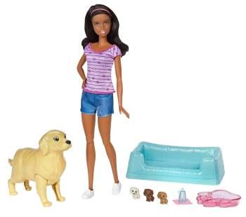 Кукла Барби брюнетка с новорожденными щенками