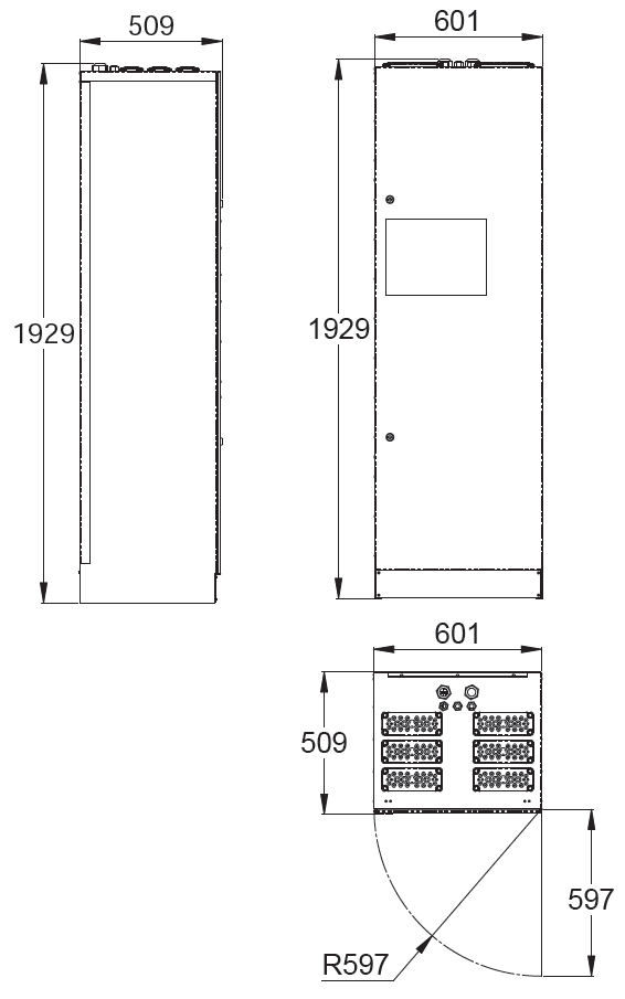 Монтажные размеры адресного блока эвакуационной системы аварийного освещения TKT67C Teknoware