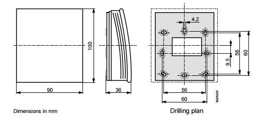 Размеры привода Siemens QFA2020