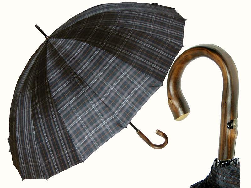 Большой классический зонт-трость в клетку