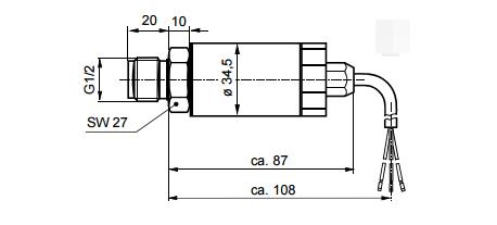 Размеры датчика давления для жидкостей и газов Siemens QBE2002-P25