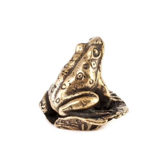 Изображение бронзовой лягушки, фотография справа