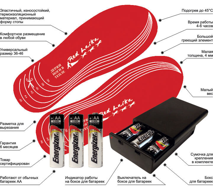 Характеристики и преимущества стелек с подогревом RedLaika на батарейках