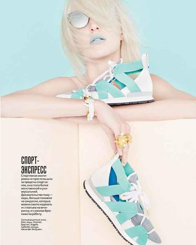 браслет из фарфора и позолоченной латуни от испанского бренда Andres Gallardo в свежем номере журнала InStyle март 2015 г.