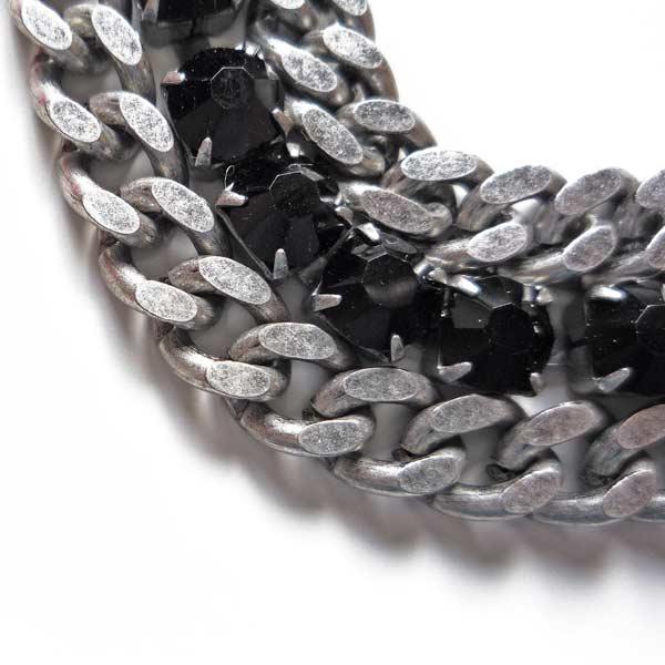 женский массивный рок-браслет-цепь с кристаллами сваровски фото