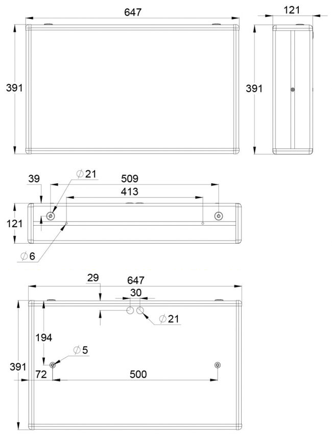 Монтажные размеры указателя направления движения при эвакуации IP44 ESC-3