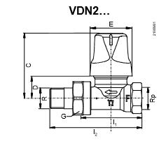 Размеры клапана радиаторного Siemens VDN215