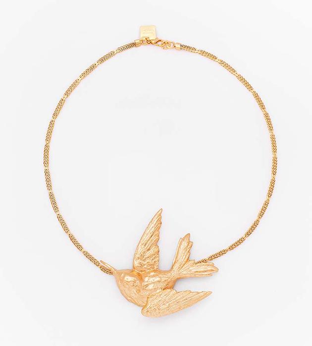 колье с золотой птицей на цепочке Single Bird от Beatriz Palacios